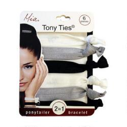 Mia Tony Ties - White, Charcoal & Black