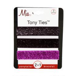 Mia Tony Tie - Glitter Pink, Black & Silver