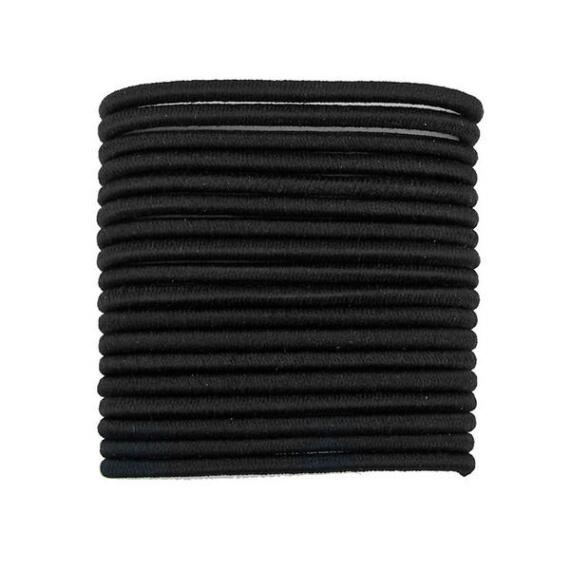Victoria's European Black No Crimper Medium Thick Elastics - 18ct