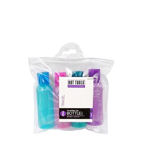 Hot Tools Colored Travel Disc Top Four Piece Bottle Set
