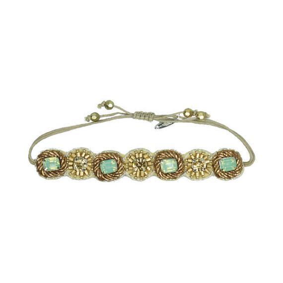 Pink Pewter Gold & Turquoise Beaded Drawstring Bracelet