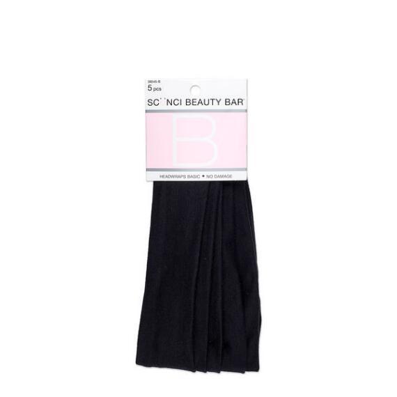 Conair Scunci Beauty Bar No Damage Basic Black Headwraps 5-Pack