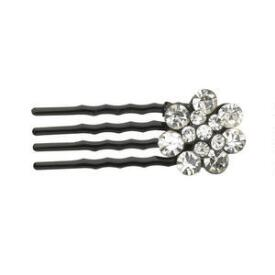 Victoria's European Crystal Flower Black Mini Combs