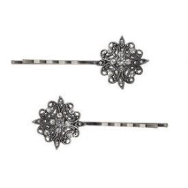 Victoria's European Renaissance Filigree Silver Bobby Pins