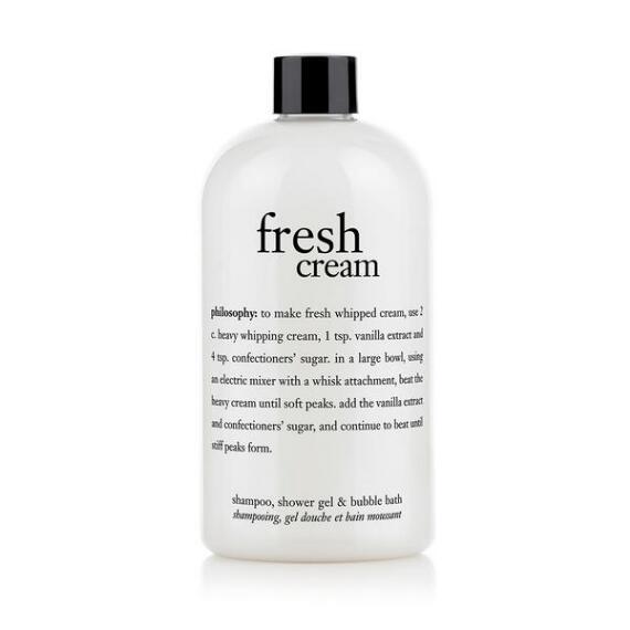 philosophy fresh cream shampoo, shower gel and bubble bath