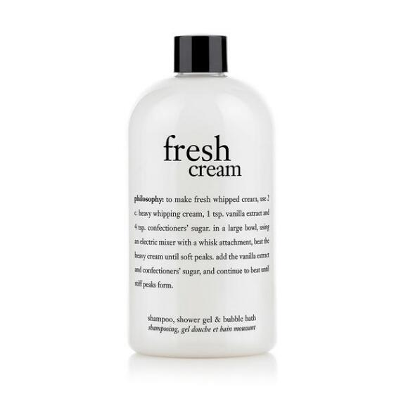 philosophy fresh cream shampoo, shower gel and bubble bath
