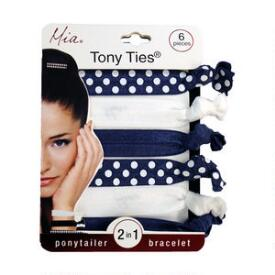 Mia Tony Ties - White, Navy & Polka Dot