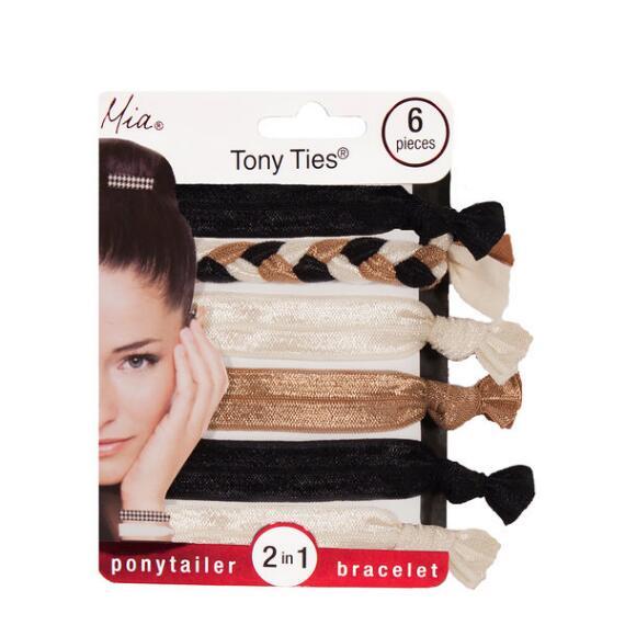 Mia Beauty Tony Ties Ponytailers and Bracelets - Set of 6