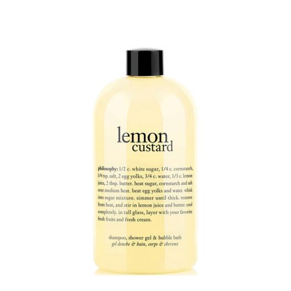 philosophy lemon custard shampoo, shower gel and bubble bath