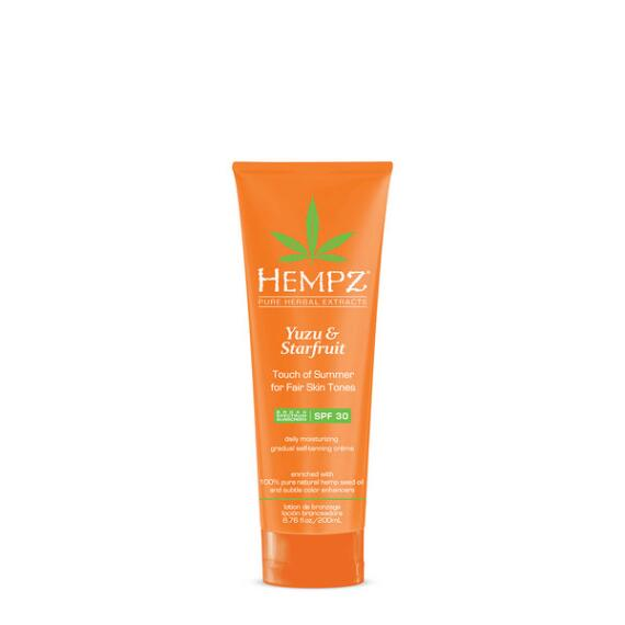 Hempz Yuzu and Starfruit Touch of Summer Moisturizing Gradual Self-Tanning Creme with SPF 30 for Fair Skin Tones