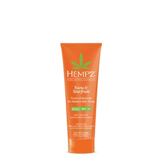 Hempz Yuzu and Starfruit Touch of Summer Moisturizing Gradual Self-Tanning Creme with SPF 30 for Medium Skin Tones