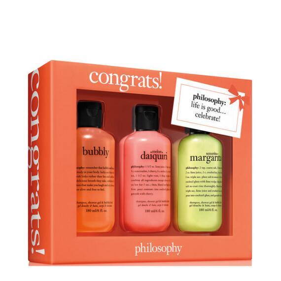 philosophy congrats shampoo, bath and shower gel 3-piece set