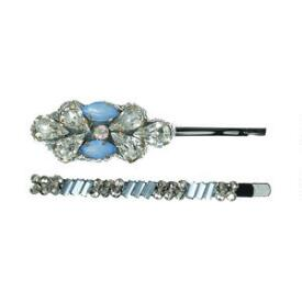 Pink Pewter Silver & Blue Beaded Bobby Pin Set