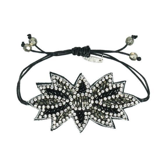 Pink Pewter Black and Silver Beaded Drawstring Bracelet