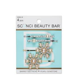 Conair Scunci Beauty Bar Pearl and Gemstone Barrettes 4-Pack