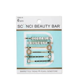 Conair Scunci Beauty Bar Pearl and Gemstone Barrettes 6-Pack