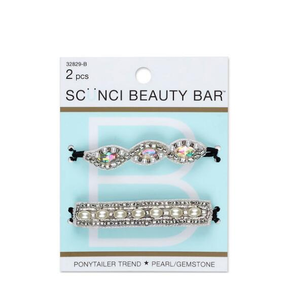 Conair Scunci Beauty Bar Pearl and Gemstone Beaded Ponytailers 2-Pack
