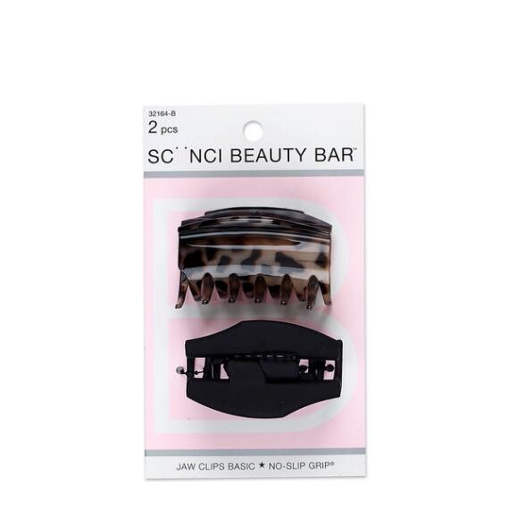 Conair Scunci Beauty Bar Covered Hinge No Slip Jaw Clips 2-Pack