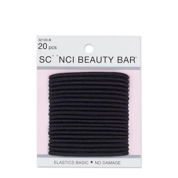 Conair Scunci Beauty Bar No Damage Black Elastics 20-Pack
