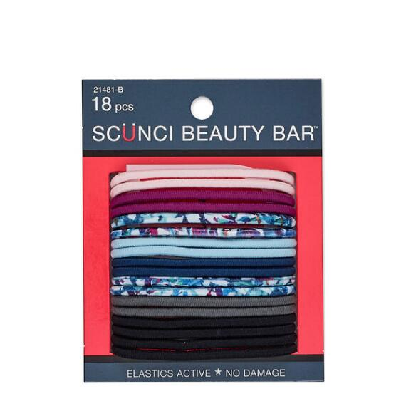 Conair Scunci Beauty Bar No Damage Round Printed and Solid Elastics 18-Pack