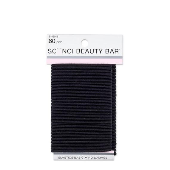 Conair Scunci Beauty Bar No Damage Black Elastics 60-Pack