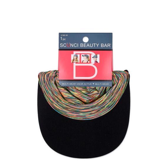 Conair Scunci Beauty Bar Multi-Wear Drawstring Visor Cap with Space Dye
