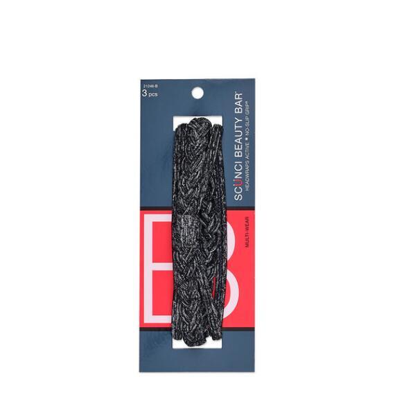 Conair Scunci Beauty Bar Multi-Wear Black Headwraps 3-Pack