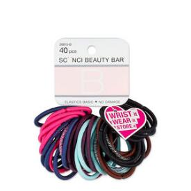 Conair Scunci Beauty Bar No Damage Elastics with Heart Bangle 40-Pack