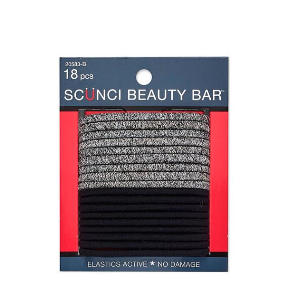 Conair Scunci Beauty Bar No Damage Black and Gray Print Elastics 18-Pack