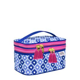 Modella Blue and Pink Double Zip Train Case