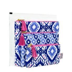 Modella Blue and Pink 4 Piece Makeup Bag Set