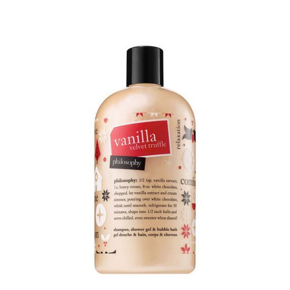 philosophy vanilla velvet truffle 3 in 1 shampoo shower gel and bubble bath