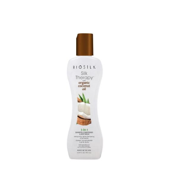 BIOSILK SILK THERAPY ORGANIC COCONUT OIL 3-IN1 SHAMPOO, CONDITIONER, BODY WASH