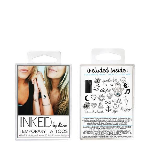 INKED by Dani Black and White Temporary Tattoos Pack