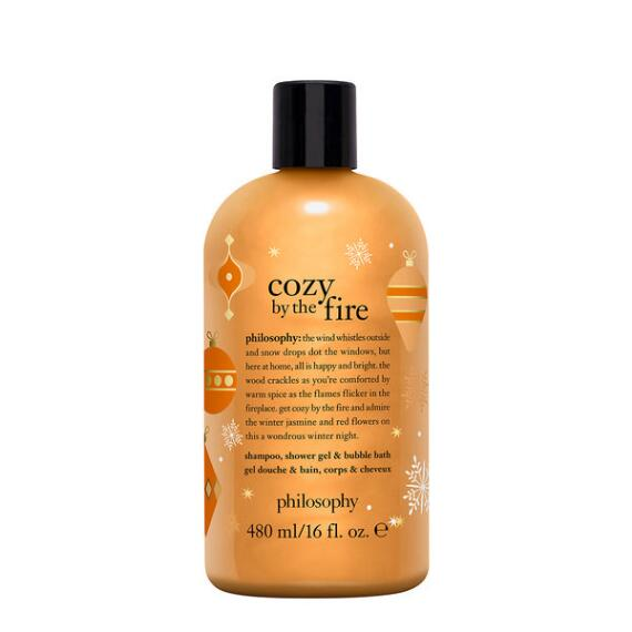 philosophy cozy by the fire shampoo, shower gel & bubble bath