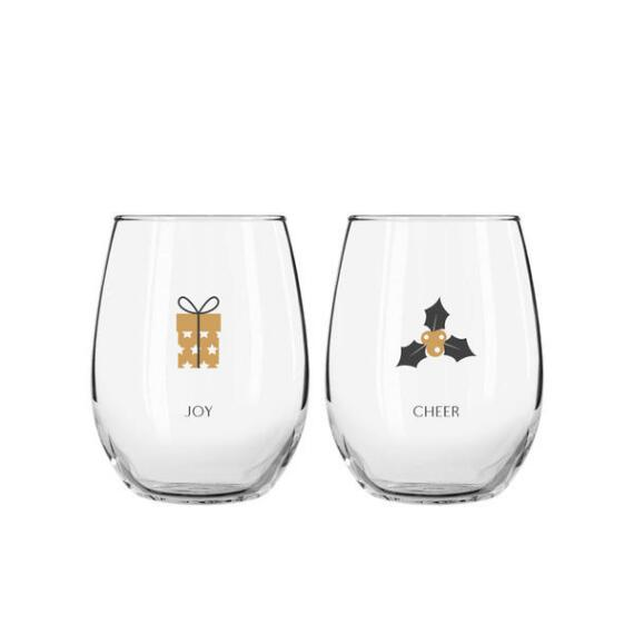 Set of 2 Joy & Cheer Wine Glasses