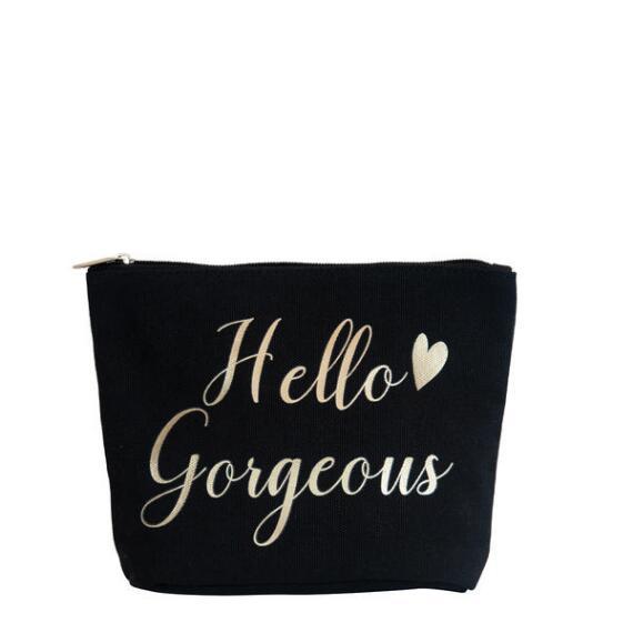 Hello Gorgeous Black Canvas Bag