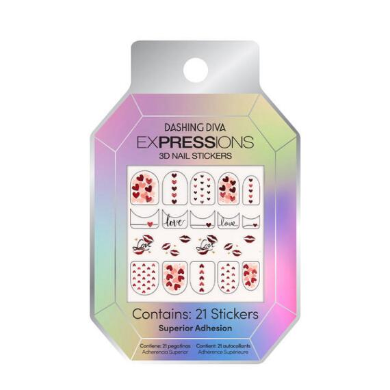 Dashing Diva Expressions 3D Nail Stickers Valentines Day 2021