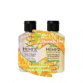 Hempz Hands On Sweet Pineapple & Honey Melon Sanitizer & Lotion Duo