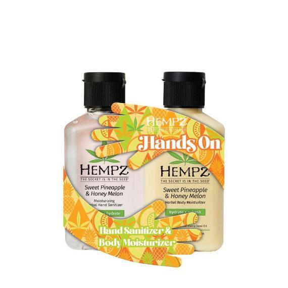 Hempz Hands On Sweet Pineapple & Honey Melon Sanitizer & Lotion Duo