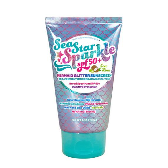 Sunshine & Glitter SeaStar Sparkle SPF50+ Mermaid Glitter Sunscreen in Coco Lime