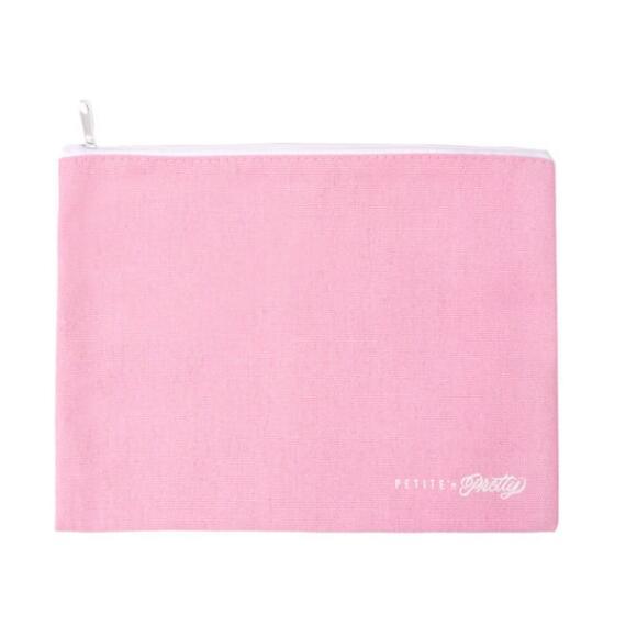 Petite n Pretty Pink Canvas Cosmetic Bag