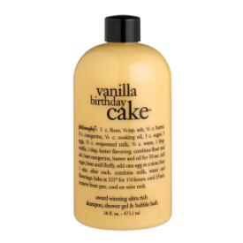 philosophy vanilla birthday cake shampoo, shower gel and bubble bath