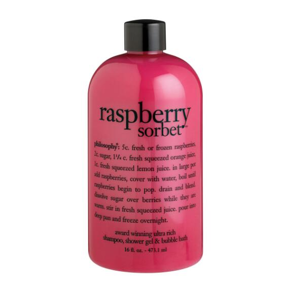 philosophy raspberry sorbet shampoo, shower gel and bubble bath