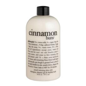 philosophy cinnamon buns shampoo, shower gel and bubble bath